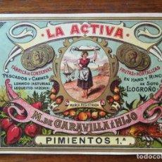 Etiquetas antiguas: ETIQUETA CONSERVAS LA ACTIVA - M GARAVILLA E HIJO - HARO ( RIOJA) 1903 PIMIENTOS 1A -13,5 X 10 CM. Lote 288375728