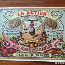 Etiquetas antiguas: ETIQUETA CONSERVAS LA ACTIVA - M GARAVILLA E HIJO - HARO ( RIOJA) 1903 TOMATE PIMIENTO -13,5 X 10 CM. Lote 288375898