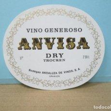 Etiquetas antiguas: ANTIGUA ETIQUETA, VINO GENEROSO ANVISA. Lote 288382138