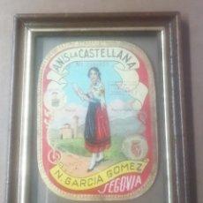 Etiquetas antiguas: ETIQUETA DE ANÍS LA CASTELLANA. ENMARCADA Y CON CRISTAL. . ANTIGUA.. Lote 288400958