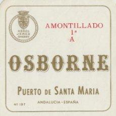 Etiquetas antiguas: OSBORNE . PUERTO DE SANTA MARÍA .AMONTILLADO 1ª A - , ETIQUETA VINO ORIGINAL REF 54. Lote 288715693