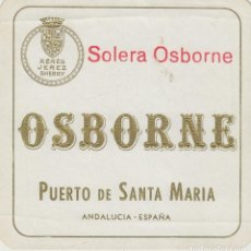 Etiquetas antiguas: OSBORNE . PUERTO DE SANTA MARÍA , SOLERA OSBORNE - , ETIQUETA VINO ORIGINAL REF 56. Lote 288716098