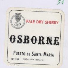 Etiquetas antiguas: OSBORNE . PUERTO DE SANTA MARÍA , MOSCATEL 1870 - , ETIQUETA VINO ORIGINAL REF 57. Lote 288716278