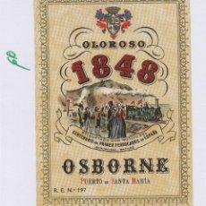 Etiquetas antiguas: OSBORNE . PUERTO DE SANTA MARÍA , OLOROSO 1848 - , ETIQUETA VINO ORIGINAL REF 60. Lote 288716828