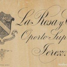 Étiquettes anciennes: OPORTO , JEREZ LA ROSA . ETIQUETA DE VINO REF 88. Lote 289650188
