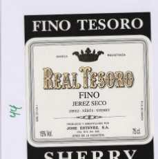 Etiquetas antiguas: MARQUÉS DEL REAL TESORO . JEREZ .FINO . ETIQUETA DE VINO REF 44. Lote 289741103