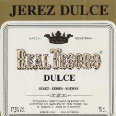 Etiquetas antiguas: MARQUÉS DEL REAL TESORO . JEREZ DULCE . ETIQUETA DE VINO REF 44. Lote 289741138
