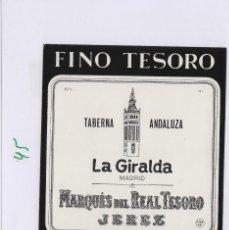 Etiquetas antiguas: MARQUÉS DEL REAL TESORO . JEREZ FINO LA GIRALDA SHERRY . ETIQUETA DE VINO REF 44. Lote 289741258