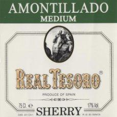 Etiquetas antiguas: MARQUÉS DEL REAL TESORO . JEREZ AMONTILLADO . ETIQUETA DE VINO REF 45. Lote 289741353