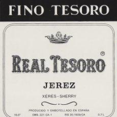 Etiquetas antiguas: MARQUÉS DEL REAL TESORO . JEREZ FINO . ETIQUETA DE VINO REF 45. Lote 289741378