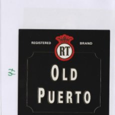 Etiquetas antiguas: MARQUÉS DEL REAL TESORO . JEREZ OLD PUERTO . ETIQUETA DE VINO REF 47. Lote 289741458