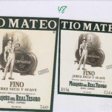 Etiquetas antiguas: MARQUÉS DEL REAL TESORO . JEREZ FINO TIO MATEO . ETIQUETA DE VINO REF 47. Lote 289741523