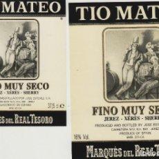 Etiquetas antiguas: MARQUÉS DEL REAL TESORO . JEREZ FINO TIO MATEO . ETIQUETA DE VINO REF 47. Lote 289741573