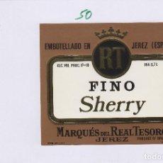 Etiquetas antiguas: MARQUÉS DEL REAL TESORO . JEREZ FINO SHERRY . ETIQUETA DE VINO REF 50. Lote 289741743