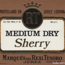 Etiquetas antiguas: MARQUÉS DEL REAL TESORO . JEREZ FINO SHERRY . ETIQUETA DE VINO REF 50. Lote 289741753