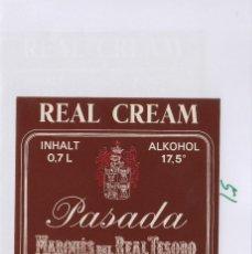 Etiquetas antiguas: MARQUÉS DEL REAL TESORO . JEREZ REAL CREAM PASADA . ETIQUETA DE VINO REF 51. Lote 289741843