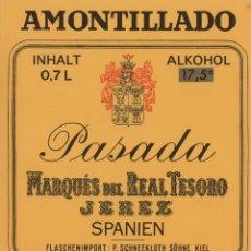 Etiquetas antiguas: MARQUÉS DEL REAL TESORO . JEREZ REAL AMONTILLADO PASADA . ETIQUETA DE VINO REF 53. Lote 289742003