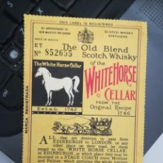 Étiquettes anciennes: ANTIGUA ETIQUETA WHISKY WHITE HORSE THE OLD BLEND SCOTCH WHISKY (VER OBSERVACIONES). Lote 289855718