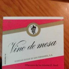 Etiquetas antiguas: BODEBAS DUQUE DE SAN FERNANDO, S.A. VILLANUEVA DE LOS INFANES (CIUDAD REAL) SAN FERNANDO. PERFECTA. Lote 289893293