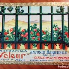 Etiquetas antiguas: MANZANILLA SOLEAR ANTONIO BARBADILLO SANLUCAR DE BARRAMEDA. RELIEVE. PERFECTA. Lote 289895838