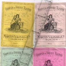 Etiquetas antiguas: 1908/30´S 4 ETIQUETAS IGUALES DIFERENTES COLORES FABRICA VARIOS TEJIDOS MARTÍN SALINAS IGUALADA (1). Lote 292509323