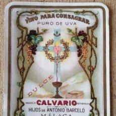 Etiquetas antiguas: ETIQUETA VINO CONSAGRAR, CALVARIO, MÁLAGA. Lote 292680263