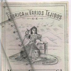 Etiquetas antiguas: 1908/30´S 5 ETIQUETAS IGUALES DIFERENTES COLORES, FABRICA VARIOS TEJIDOS MARTÍN SALINAS IGUALADA (2). Lote 293288283