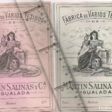 Etiquetas antiguas: 1908/30´S 6 ETIQUETAS IGUALES DIFERENTES COLORES, FABRICA VARIOS TEJIDOS MARTÍN SALINAS IGUALADA (5). Lote 293304053
