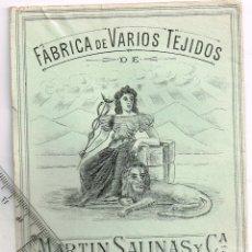 Etiquetas antiguas: 1908/30´S 5 ETIQUETAS IGUALES DIFERENTES COLORES, FABRICA VARIOS TEJIDOS MARTÍN SALINAS IGUALADA (6). Lote 293308018