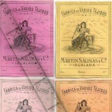 Etiquetas antiguas: 1908/30´S 4 ETIQUETAS IGUALES DIFERENTES COLORES, FABRICA VARIOS TEJIDOS MARTÍN SALINAS IGUALADA (7). Lote 293310818