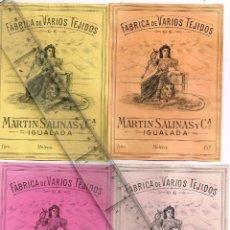 Etiquetas antigas: 1908/30´S 4 ETIQUETAS IGUALES DIFERENTES COLORES, FABRICA VARIOS TEJIDOS MARTÍN SALINAS IGUALADA (8). Lote 293313198