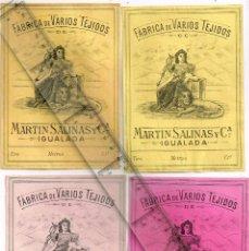 Etiquetas antiguas: 1908/30´S 4 ETIQUETAS IGUALES DIFERENTES COLORES, FABRICA VARIOS TEJIDOS MARTÍN SALINAS IGUALADA (9). Lote 293315508