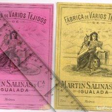 Etiquetas antiguas: 1908/30S 2 ETIQUETAS IGUALES DIFERENTES COLORES, FABRICA VARIOS TEJIDOS MARTÍN SALINAS IGUALADA (10). Lote 293318203