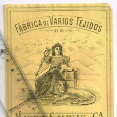Etiquetas antiguas: 1908/30´S. ETIQUETA AMARILLO Y NEGRO FÁBRICA VARIOS TEJIDOS MARTÍN SALINAS IGUALADA (11). Lote 293421578