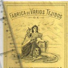 Etiquetas antiguas: 1908/30´S. ETIQUETA AMARILLO Y NEGRO FÁBRICA VARIOS TEJIDOS MARTÍN SALINAS IGUALADA (14). Lote 293424293