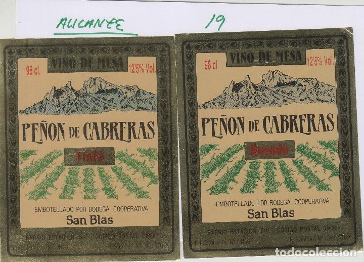 ALICANTE - PEÑÓN DE CABRERAS , SAN BLAS . ETIQUETA DE VINO REF 19 (Coleccionismo - Etiquetas)
