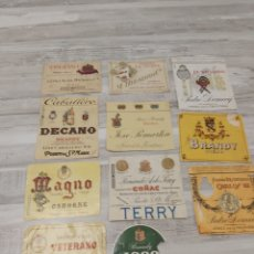 Etiquetas antigas: LOTE ETIQUETAS BRANDY, COÑAC. JEREZ, PUERTO SANTA MARÍA, SAN LUCAR. Lote 294067373