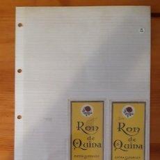 Etiquetas antiguas: ETIQUETAS ANTIGUAS - RON DE QUINA (2). Lote 295456918