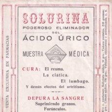 Etiquetas antiguas: SOLURINA. PODEROSO ELIMINADOR DEL ÁCIDO ÚRICO.CURA EL REÚMA, LA CIÁTICA, EL LUMBAGO. NAVIA ASTURIAS. Lote 295505053