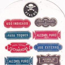 Etiquetas antiguas: LOTE DE 17 ETIQUETA RELACIONADAS CON FARMACIA: VENENO, A GOTAS, CUCHARADAS, ETC.. Lote 295511008