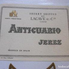 Etiquetas antigas: ANTICUARIO JEREZ LACAVE & CIA. Lote 295539748