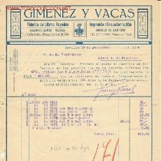 Facturas antiguas: FACTURA DE SEVILLA,1924.GIMENEZ Y VACAS FABRICA DE LIBROS RAYADOS, IMPRENTA. ENCUADERNACION. Lote 848955