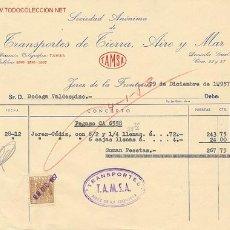 Facturas antiguas: FACTURA T.A.M.S.A. TRANSPORTES TRANSPORTES DE TIERRA , AIRE Y MAR, 1957. Lote 15268394