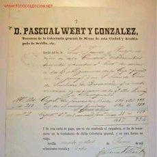 Facturas antiguas: RECIBO DE LA TESORERIA DE LA COLECTURIA GENERAL DE MISAS DE SEVILLA,22/06/1868. Lote 7804678