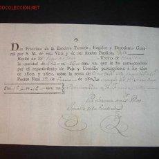 Facturas antiguas: RECIBO DE RENTA .PTO REAL 12/01/1803. Lote 782941
