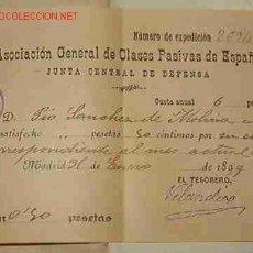 Facturas antiguas: RECIBO DE LA ASOCIACIÓN GENERAL DE CLASES PASIVAS DE ESPAÑA, JUNTA GENERAL DE DEFENSA, 1899. Lote 4396754