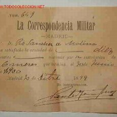 Facturas antiguas: RECIBO DE SUBSCRIPCIÓN A ' LA CORRESPONDENCIA MILITAR'. Lote 3691580