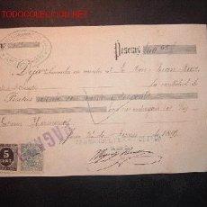 Facturas antiguas: RECIBO DE ABONO EN CUENTA CON SELLO DE IMPUESTO DE GUERRA Y TIMBRE MOVIL,1899. Lote 652369