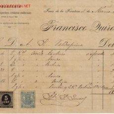 Facturas antiguas: FACTURA DE FRANCISCO QUIROS DROGUERIA DEPOSITOS DE ESPECIFICOS PRODUCTOS MEDICINALES.JEREZ. Lote 666003