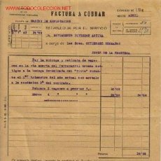 Facturas antiguas: FACTURA A COBRAR DE LA COMPAÑIA DE LOS FERROCARRILES ANDALUCES 1932. Lote 666597